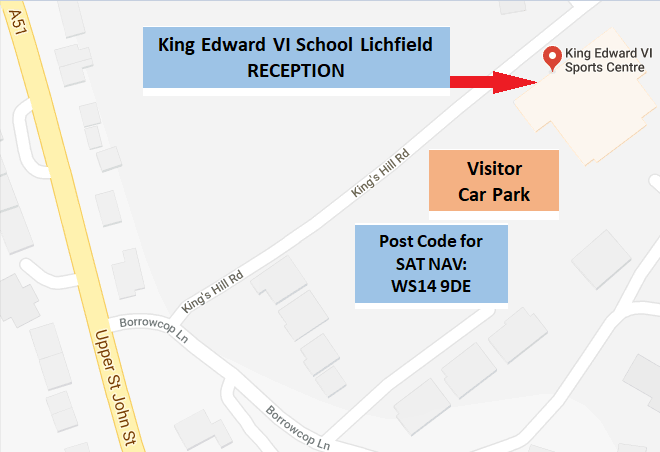 Map for King Edward VI School RECEPTION