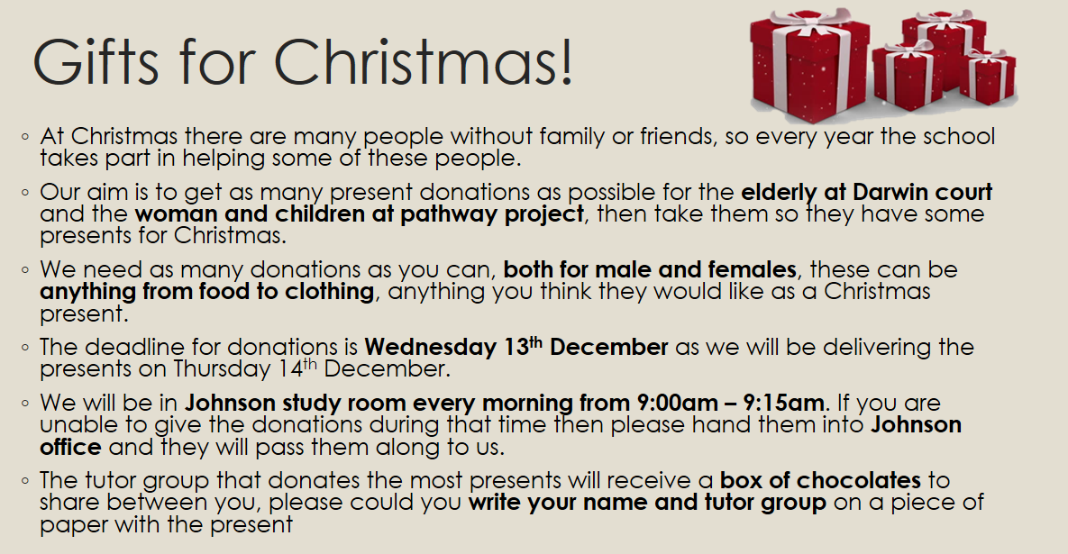 Gifts for Christmas appeal